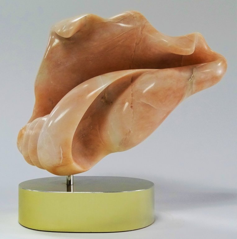 ANNE HARRIS PINK CONCH SHELL MARBLE SCULPTURE - 2