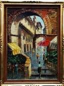 20TH C. FRENCH STREET SCENE OIL/CANVAS SIGNED