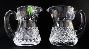 PR SIGNED WATERFORD CUT CRYSTAL CREAMER PITCHERS