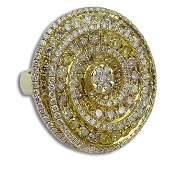 LADIES 18KT YG 4.18CT MULTI COLOR DIAMOND RING