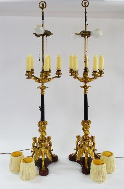 PR FRENCH EMPIRE PARCEL GILT CANDELABRA LAMPS