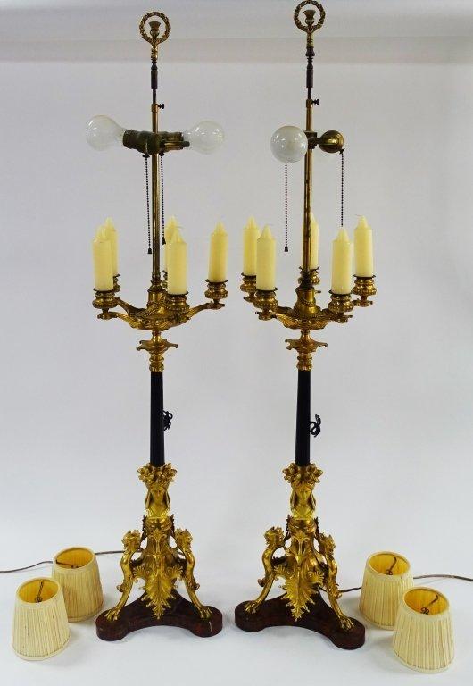 PR FRENCH EMPIRE PARCEL GILT CANDELABRA LAMPS - 2