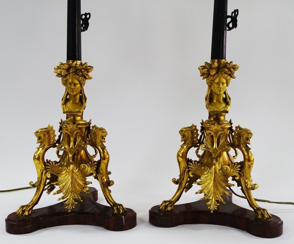 PR FRENCH EMPIRE PARCEL GILT CANDELABRA LAMPS - 3