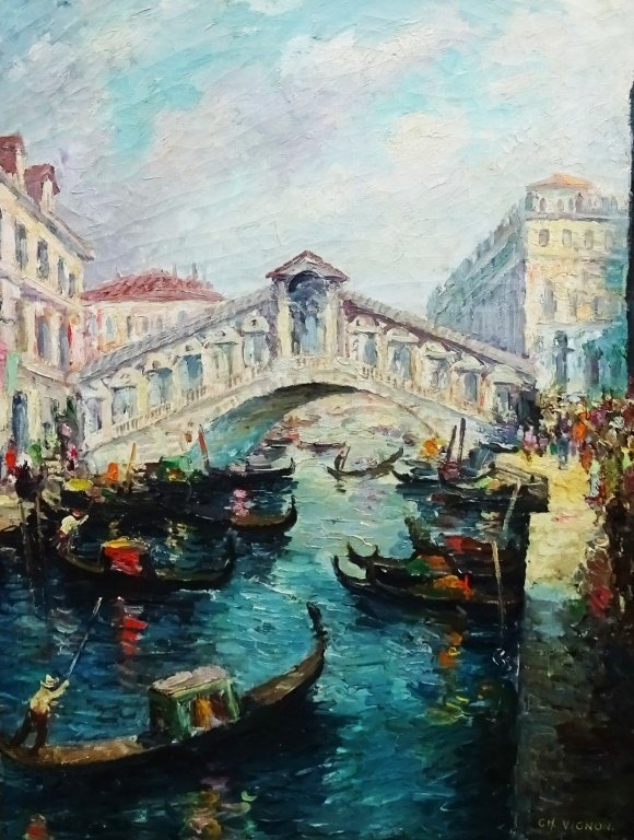 CHARLES VIGNON OIL ON CANVAS CANAL SCENE - 2