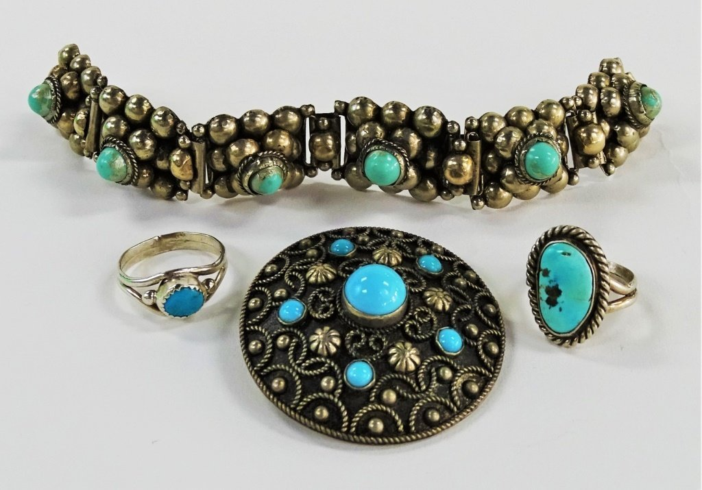 4PC VINTAGE STERLING & TURQUOISE JEWELRY SUITE