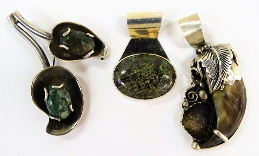3PC SUITE OF TAXCO MEXICAN STERLING JEWELRY SUITE