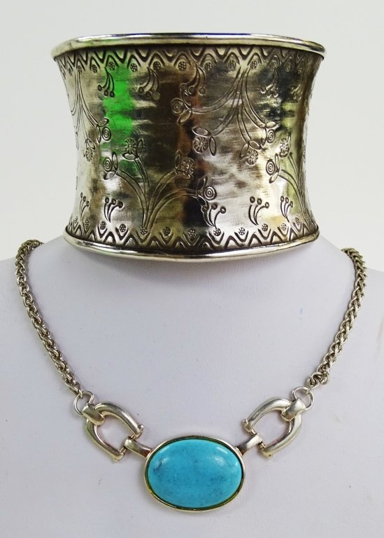 THAI STERLING SILVER CUFF BRACELET & NECKLACE