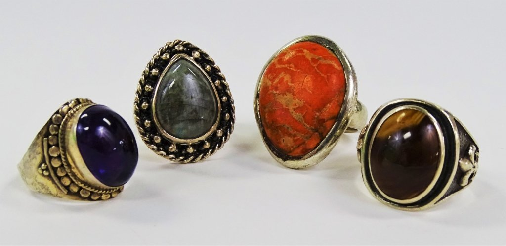 LOT OF 4 STERLING & SEMI-PRECIOUS STONE RINGS