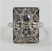 LADIES ART DECO PLATINUM  DIAMOND RING