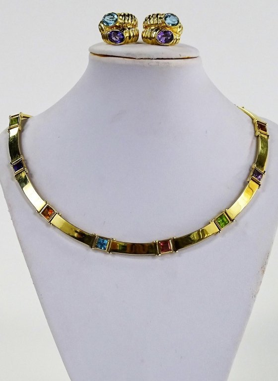 LADIES ITALIAN 14KT YELLOW GOLD & GEMSTONE SUITE