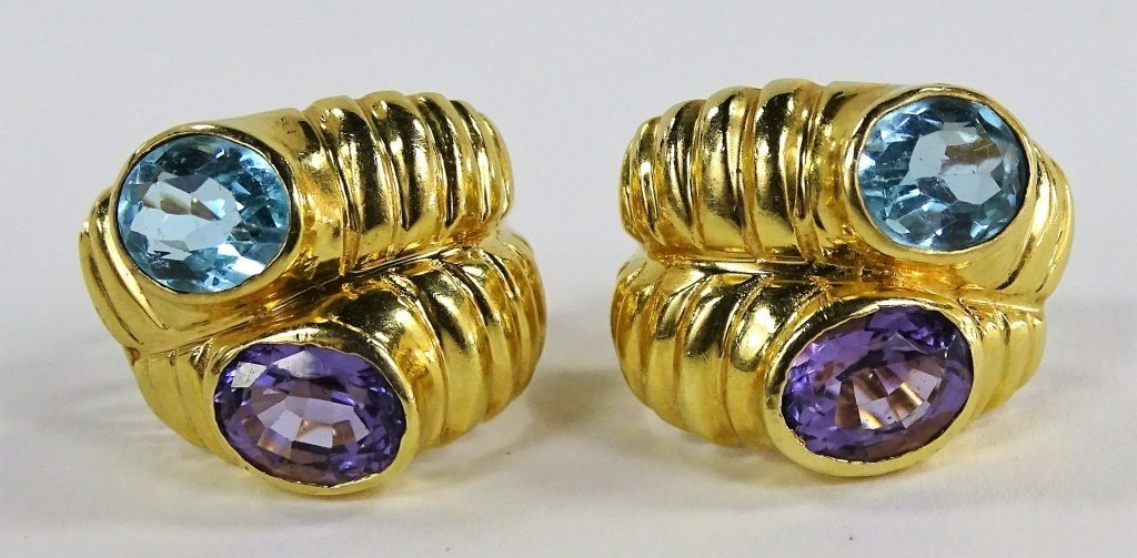 LADIES ITALIAN 14KT YELLOW GOLD & GEMSTONE SUITE - 2