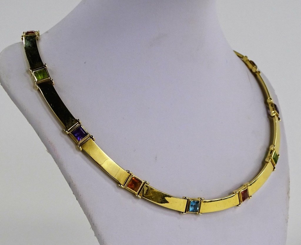 LADIES ITALIAN 14KT YELLOW GOLD & GEMSTONE SUITE - 3