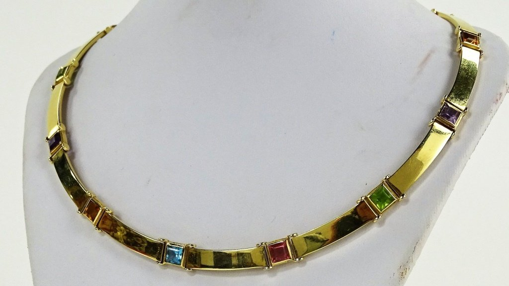 LADIES ITALIAN 14KT YELLOW GOLD & GEMSTONE SUITE - 4