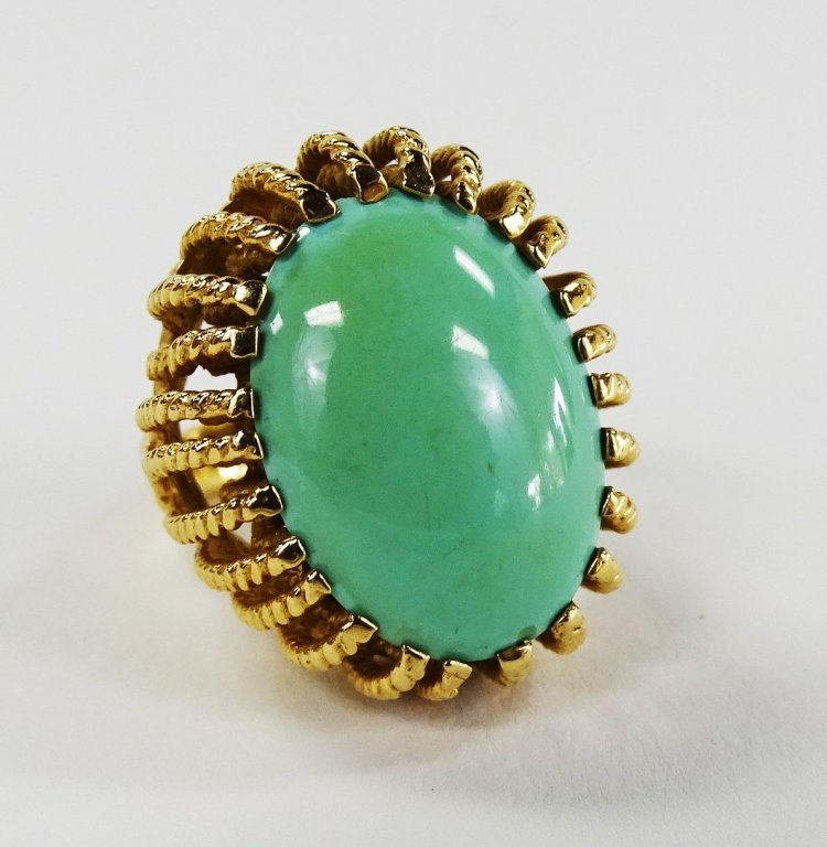 LADIES 14KT YELLOW GOLD TURQUOISE COCKTAIL RING