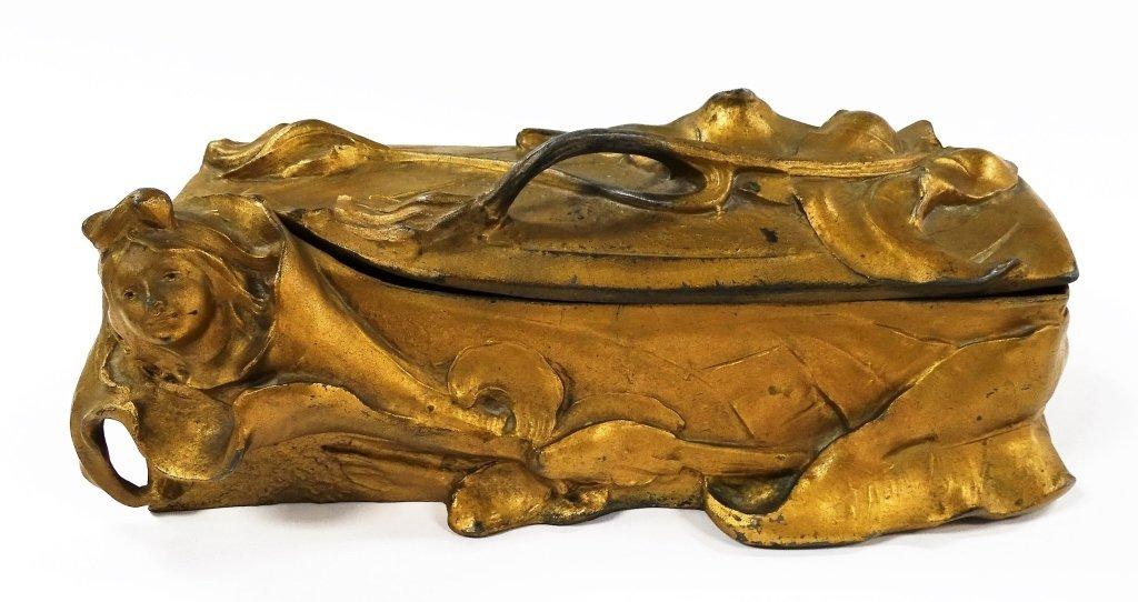 ORIGINAL ART NOUVEAU HINGED DRESSER CASKET BOX