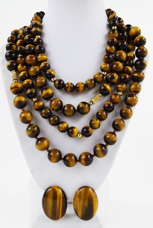 4PC VINTAGE CARVED TIGER'S EYE JEWELRY SUITE