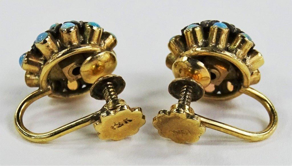PR LADIES DECO 14KT YELLOW GOLD FIRE OPAL EARRINGS - 3