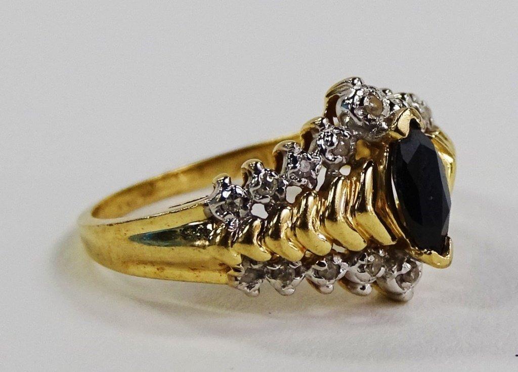 LADIES ELEGANT 10KT YG DIAMOND & SAPPHIRE RING - 2