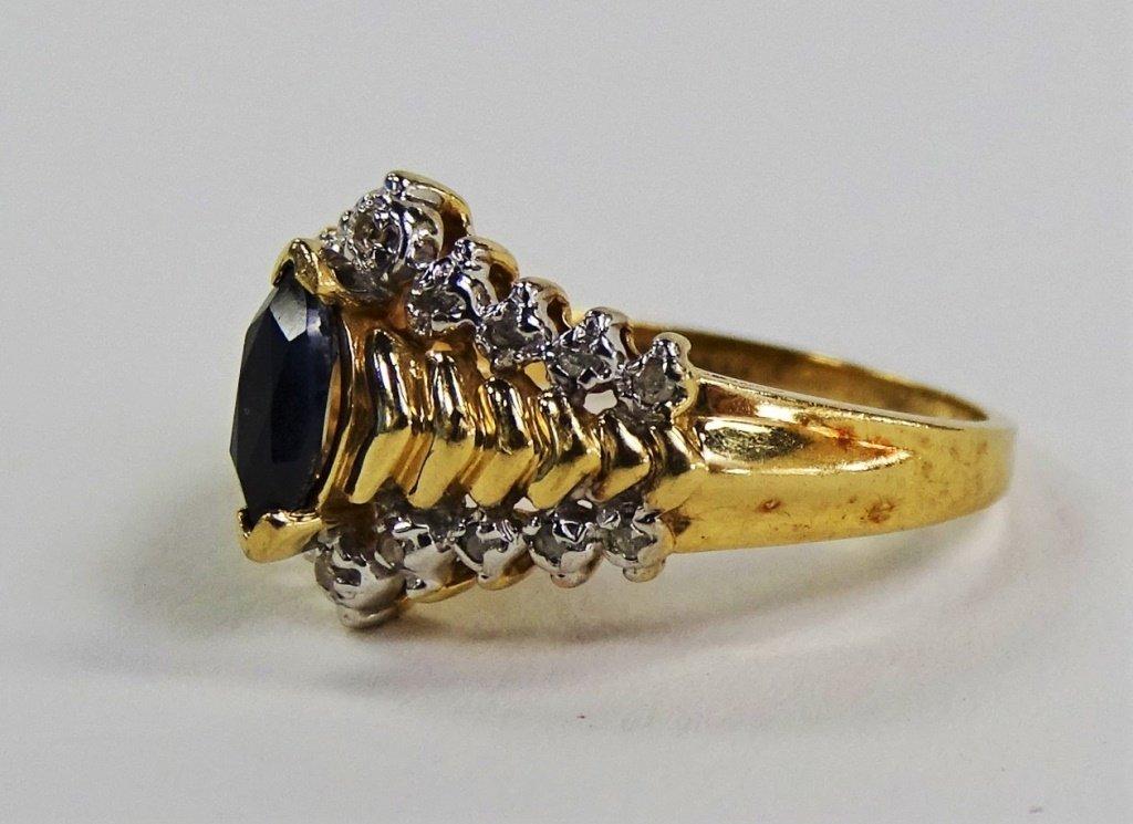 LADIES ELEGANT 10KT YG DIAMOND & SAPPHIRE RING - 3