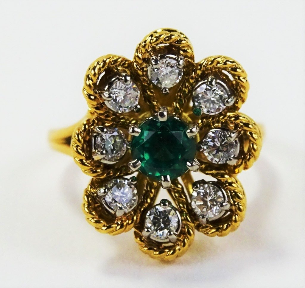 JABEL 18KT Y GOLD DIAMOND & EMERALD LADIES RING