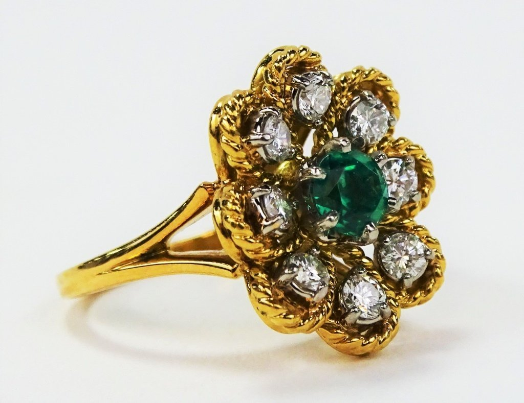 JABEL 18KT Y GOLD DIAMOND & EMERALD LADIES RING - 2