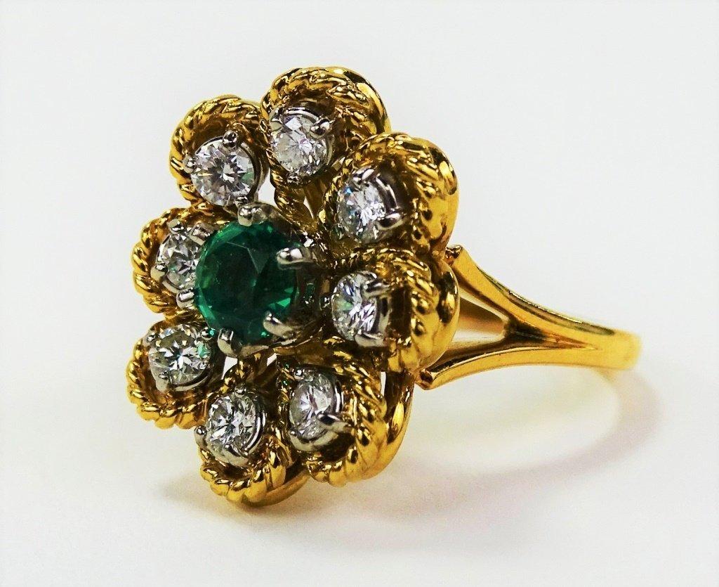 JABEL 18KT Y GOLD DIAMOND & EMERALD LADIES RING - 3