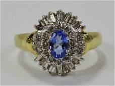 LADIES 14KT YELLOW GOLD TANZANITE  DIAMOND RING