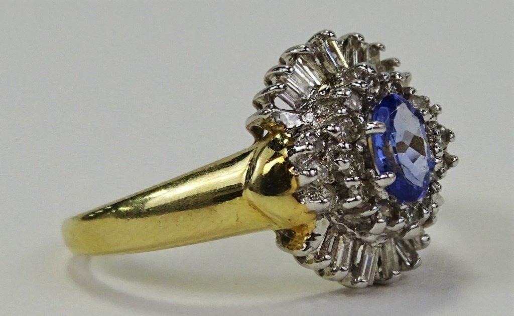 LADIES 14KT YELLOW GOLD TANZANITE & DIAMOND RING - 2