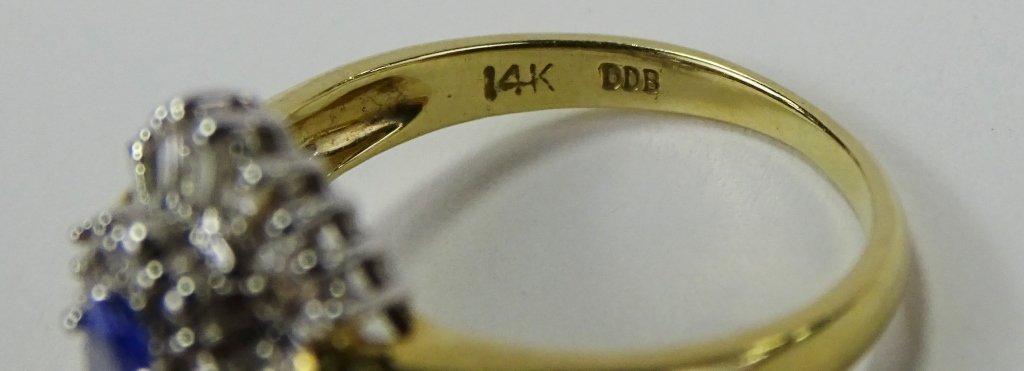 LADIES 14KT YELLOW GOLD TANZANITE & DIAMOND RING - 4