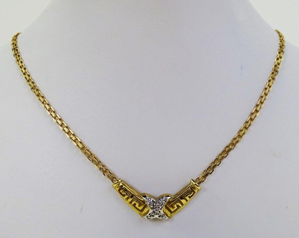LADIES 10KT YELLOW GOLD DIAMOND PENDANT NECKLACE