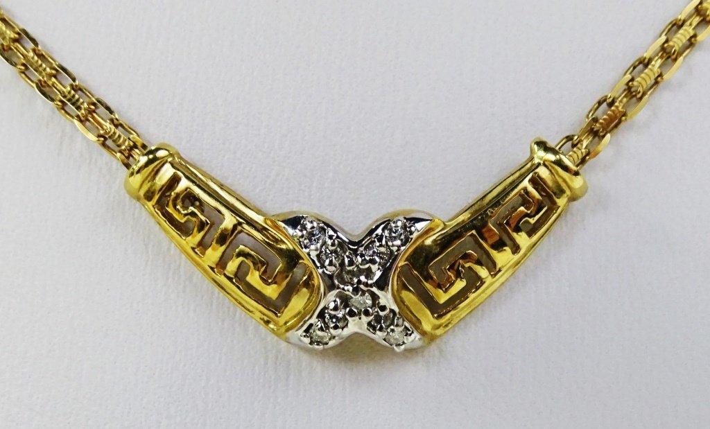 LADIES 10KT YELLOW GOLD DIAMOND PENDANT NECKLACE - 2