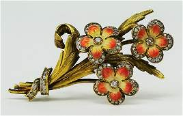 VINTAGE 18KT YG DIAMOND AND ENAMELED FLORAL PIN