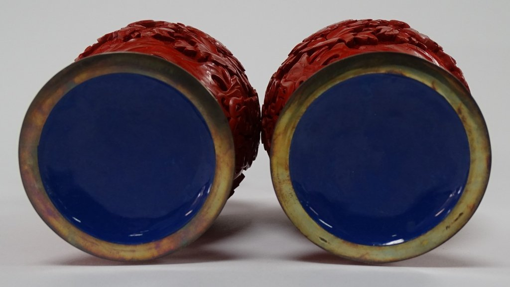 PAIR OF CHINESE CARVED LACQUER VASES - 3