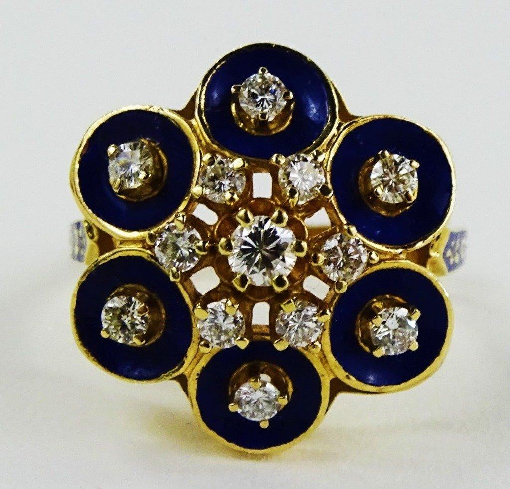 LADIES 14KT YELLOW GOLD ENAMELED DIAMOND RING