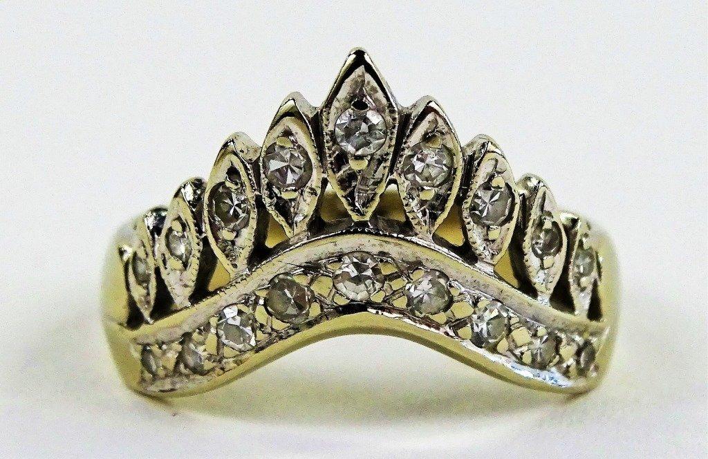 LADIES VINTAGE EREV 14KT WHITE GOLD DIAMOND RING