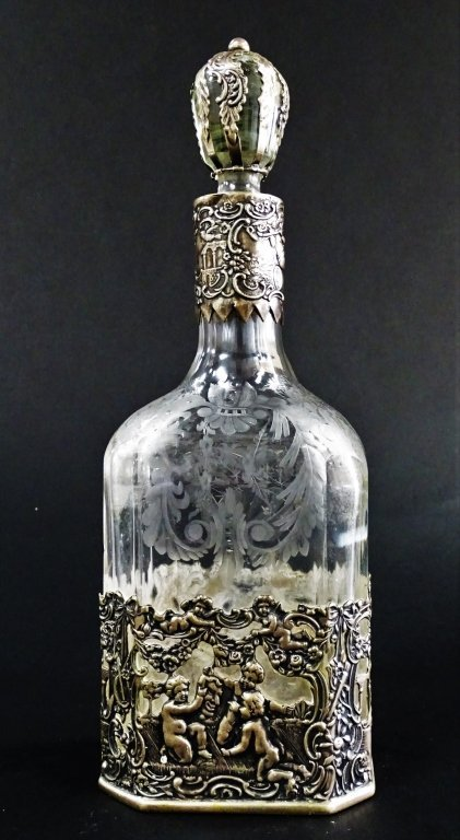 ANTIQUE ETCHED GLASS & STERLING OVERLAY BOTTLE