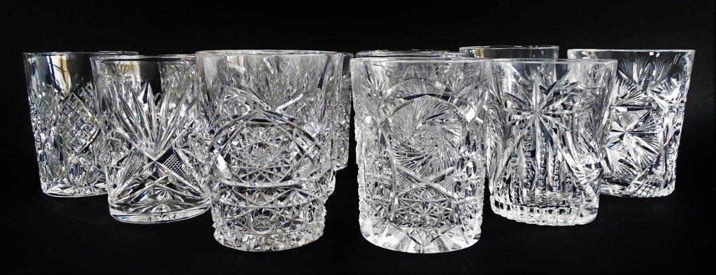 12PCS AMERICAN BRILLIANT CUT CRYSTAL GLASSWARE
