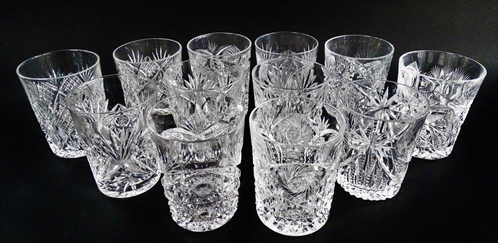 12PCS AMERICAN BRILLIANT CUT CRYSTAL GLASSWARE - 2