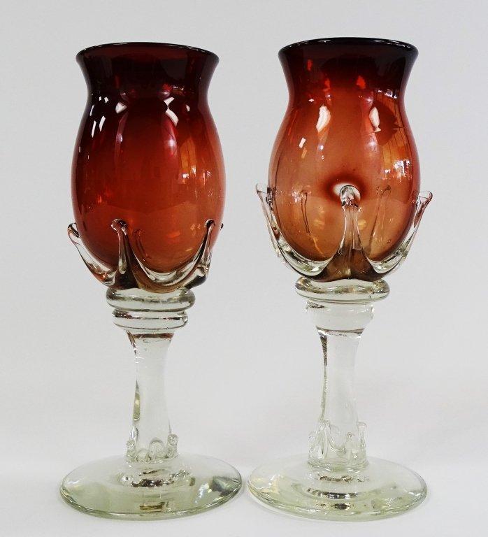 PR ROBERT DEEBLE HAND BLOWN ART GLASS WINE GOBLETS