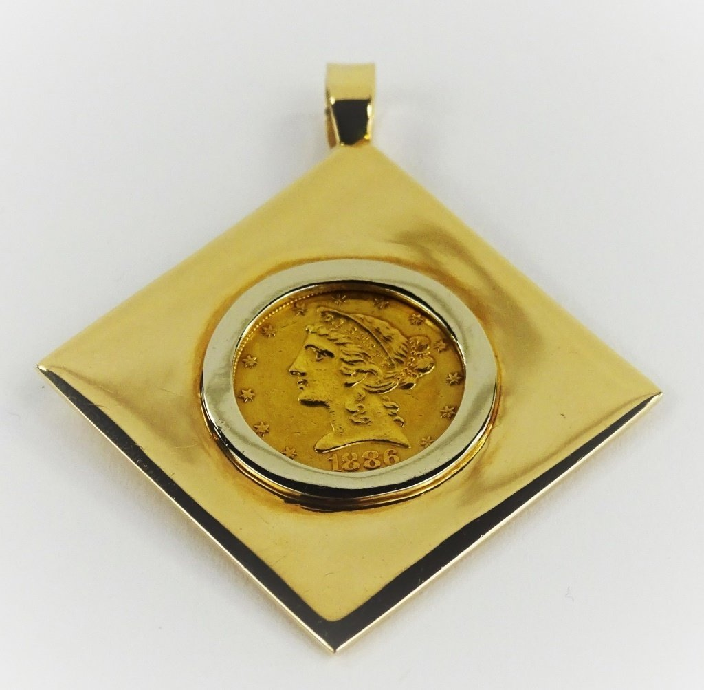 14KT YELLOW GOLD $5 LIBERTY HEAD COIN PENDANT