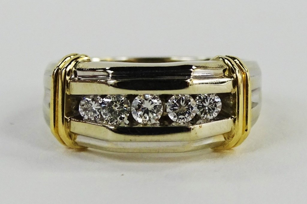 MENS 14KT TWO TONE GOLD & DIAMOND RING