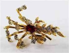 LADIES FANCY 14KT YG DIAMOND  RUBY PINBROOCH
