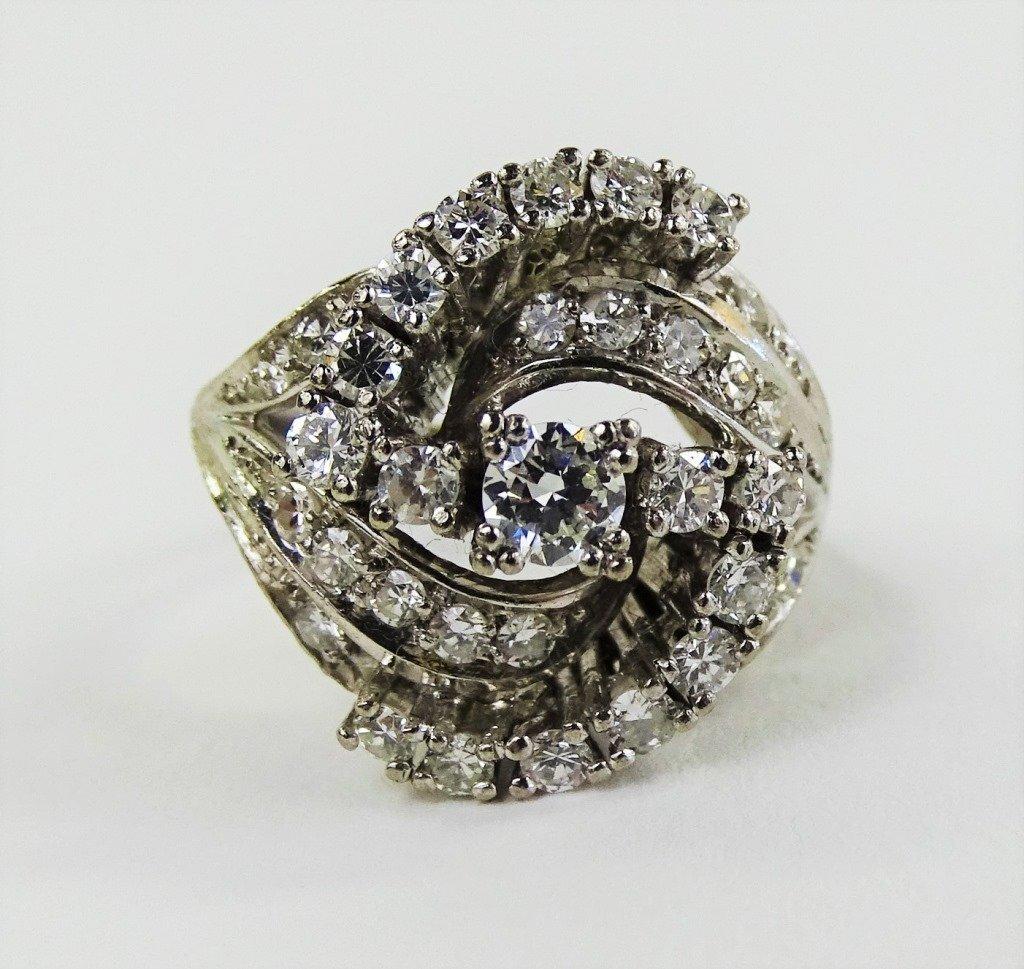 LADIES FANCY 14KT WG DIAMOND COCKTAIL RING