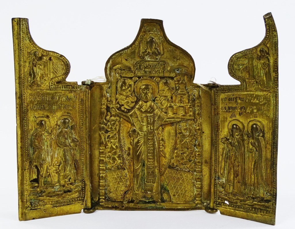 RUSSIAN TRIPTYCH ICON ST.NICHOLAS OF MOZHAISK