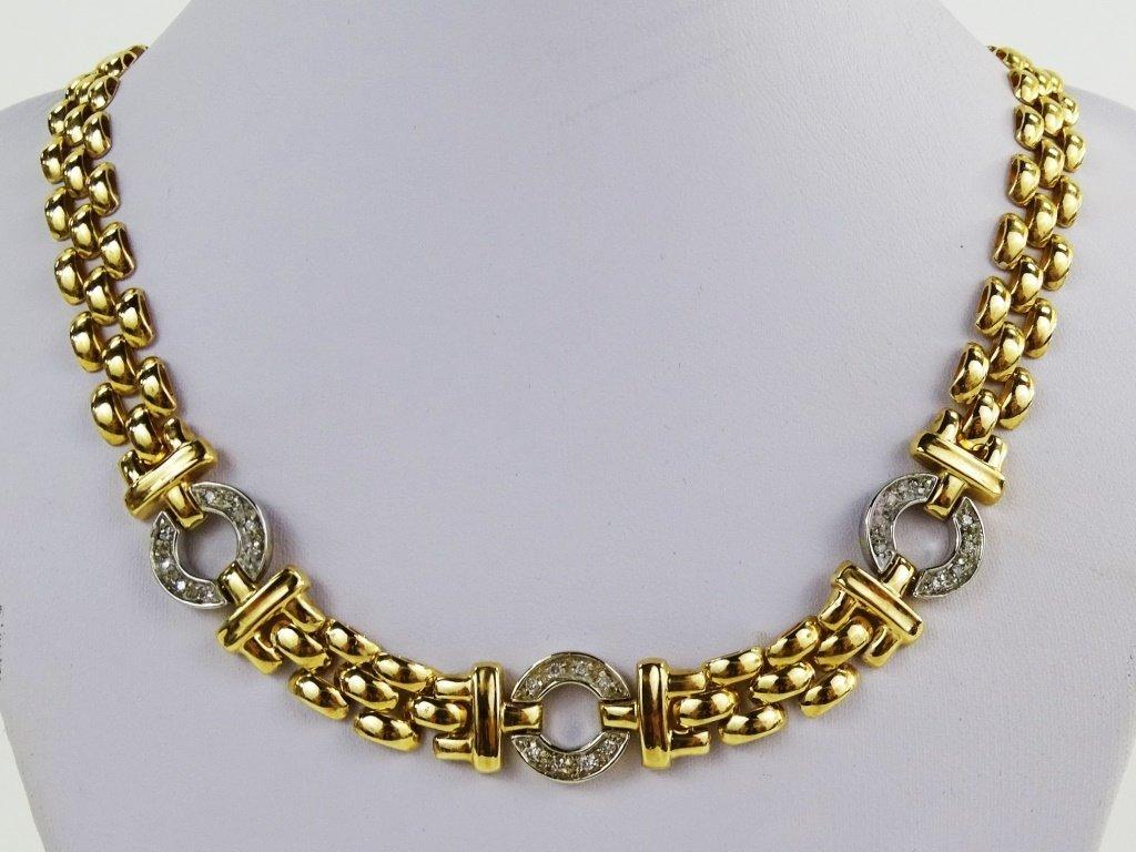 ITALIAN 14KT YG DIAMOND PANTHER LINK NECKLACE