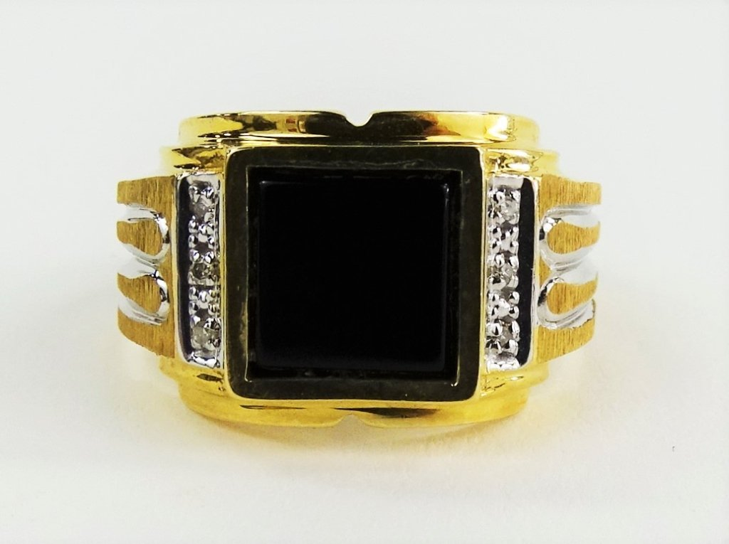 MENS 14KT TWO TONE GOLD & ONYX RING