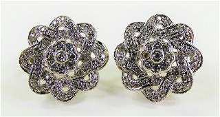 PR LADIES 14KT WG FLORIFORM DIAMOND EARRINGS