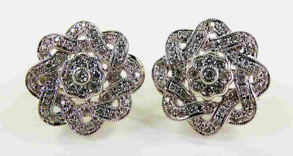 PR LADIES 14KT WG FLORIFORM DIAMOND EARRINGS