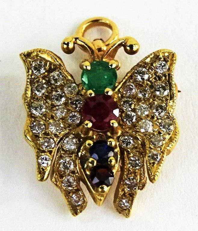 LADIES VTG 14KT YG ENCRUSTED BUTTERFLY PIN/PENDANT - 2