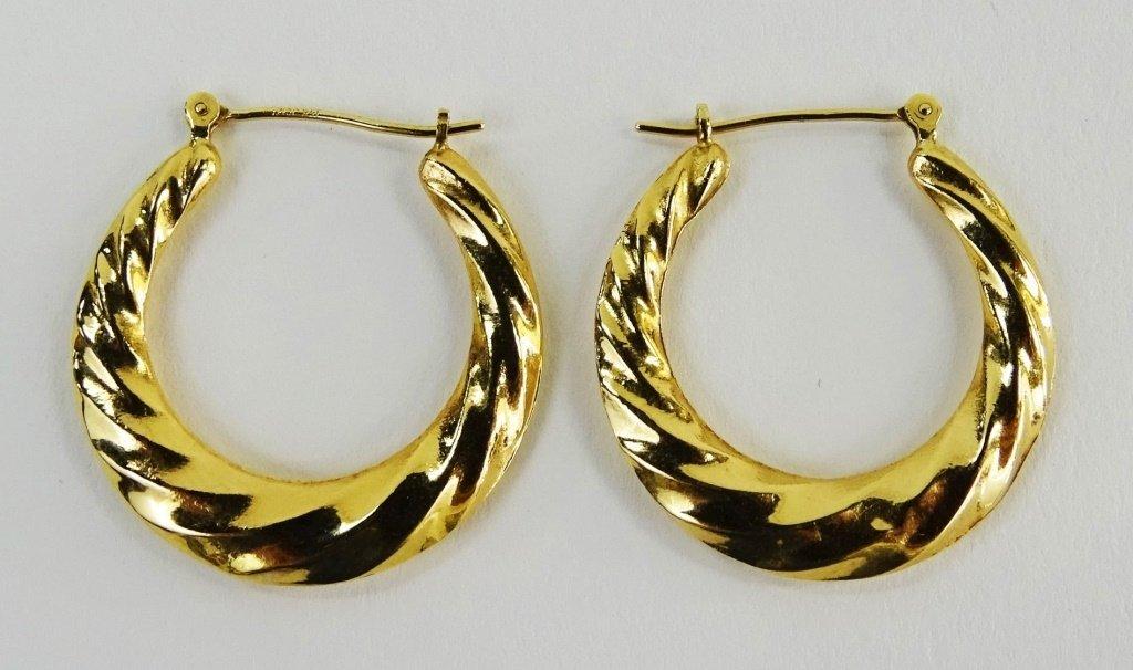 PR LADIES 14KT YELLOW GOLD HOOP EARRINGS - 2